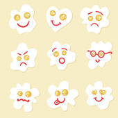 Fried eggs emoticons.  — Stock Vector