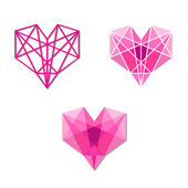 Geometric hearts — Stock Vector