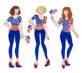 American girls — Stock Vector