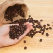 Coffee beans in hands — Stock Photo