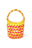 Empty Colorful Wicker Basket (hand made) — Stock Photo
