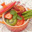 Close up of mixed vegetable and fruit salad,Healthy food — Stock Photo