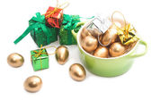 Easter eggs in the green pot — Stock Photo