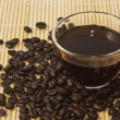 Stock Photo: Black coffee and coffee bean