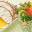 Mix healthy salad cup and whole wheat bread in white plate — Photo #24965947