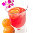 Fruit cruchon cocktail punch in glass bowl — Stock Photo