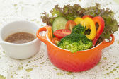 Mix healthy salad cup and whole wheat bread — Stock Photo