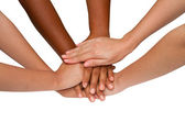 Teamwork and team spirit ,handshake in a group after work succe — Stock Photo