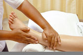 Foot massage, spa foot treatment. — Stock Photo