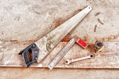 Carpenter's tools on a workbench — Stock Photo