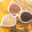Pasta and rice ,group of carbohydrate products — Stock Photo