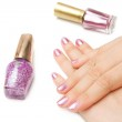 Manicure,closeup hands of young woman with pink manicure polishe — Stock Photo