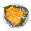 Stock Photo: Thai dessert on beautiful lai- thai dish ,made form bep