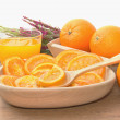 Dehydrated dried and fresh orange with juice — Stock Photo #28069363