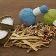 Herbal compress ball for spa aroma treatment — Stock Photo