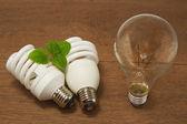 Glüh- und kompakte leuchtstofflampen, konzept-energiesparen — Stockfoto