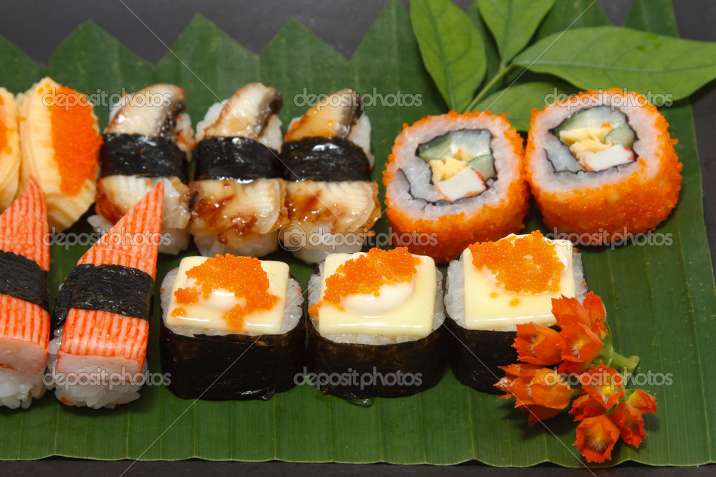 Traditional Japanese Foods Traditional Japanese Food Sushi on Black Plate Photo by Plepraisaeng