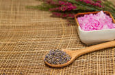 Lavender flower in wooden spoon sea salt for spa treatment — Stock Photo