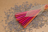 Lavender incense sticks with dried lavender — Stock Photo