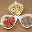Assortment of dried flower tea — Stock Photo