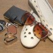 Carkeys , sunglasses,shoes  with pocket money,Ready to travel — Stock Photo