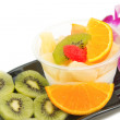 Stock Photo: Pudding fruit salad , fusion dessert