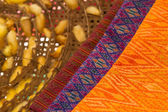 Beautiful Thai silk cloths and raw silk threads material — Stock Photo