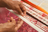 Tie dye technique of threads before weaving clothes at Asian tex — Stock Photo