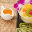 Stock Photo: Tofu jelly pudding fruit salad , fusion dessert