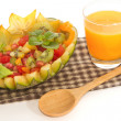 Stock Photo: Fruit salad in melon fruit with orange , fusion food