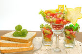 Bread slice and fruit salad , fusion food — Stock Photo