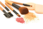 Make-up brush set and facial powder isolated — Foto Stock