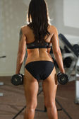 Athlete sports woman lifting weights — Foto Stock