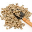 Pumice pebbles ( lightweight volcanic rock ) and shovel — Foto de stock #41160555