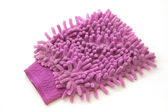 Violet car wash glove microfiber for car polishing — Stock Photo