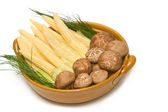 Fresh shiitake mushrooms and baby corn — 图库照片