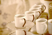 Stacked empty tea cups vintage  style — Stock Photo