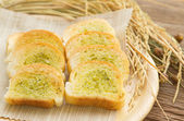 Homemade garlic  bread with paddy rice — Stock Photo