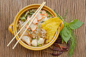 Asian cuisine , pork noodle in the bowl with herb on wooden back — Stock Photo