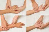 коллаж из массаж для детей с рук матери — Стоковое фото
