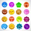 Music badges. All styles of music — Stock Vector