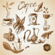 Coffee elements for design. Drawing style. — Stock Vector