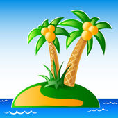 Palms, seaside and island. Vector. — Stock Vector