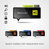 Set of speech bubbles with replacement icons. For web projects — Stock Vector