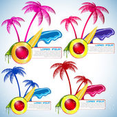 Set of tropical island with palms and waves. Stylisj shapes — Stock Vector