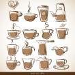 Set with sketch coffee cups — Stock Vector