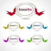 Abstracte badge met linten. trendy vorm — Stockvector