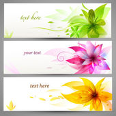 Flower vector background brochure template, set of banners — Stock Vector