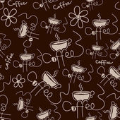 Coffee semless pattern brown — Stock Vector