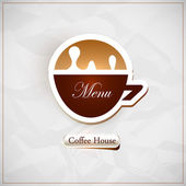 Coffee shop menu. Coffee cup shape. Vector — Stock Vector